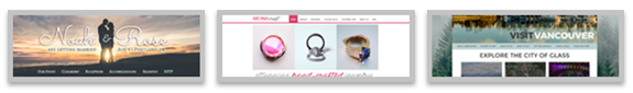 samples of a wedding couple website, a jewelry website and a tourism website